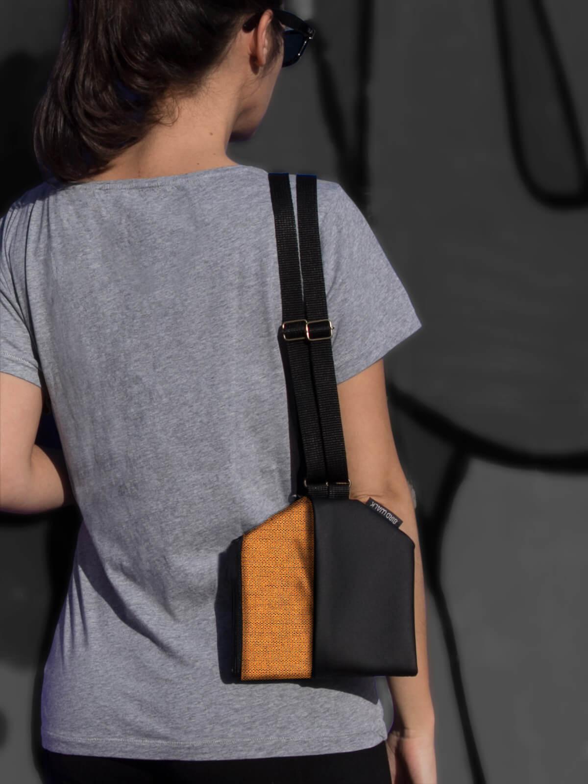 birdwalk orange shoulder bag convertible to slim backpack